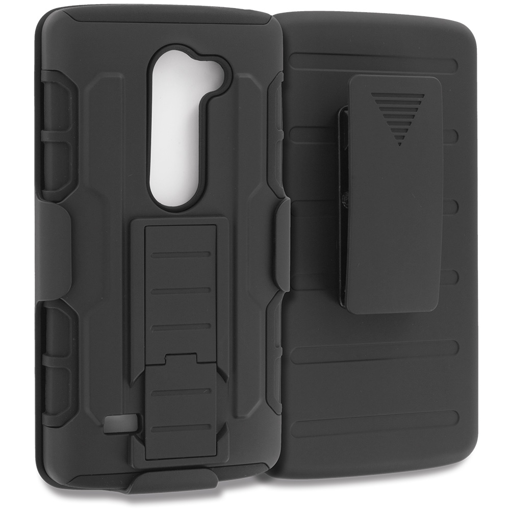 LG Tribute 2 Leon Power Destiny Black Hybrid Rugged Robot Armor Heavy Duty Case Cover with Belt Clip Holster
