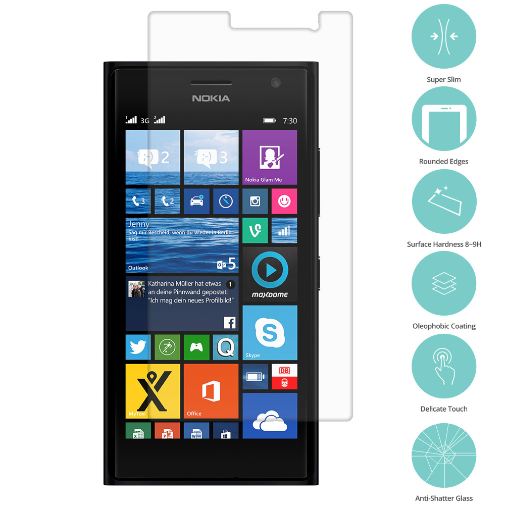Nokia Lumia 730 735 Clear Tempered Glass Film Screen Protector Clear