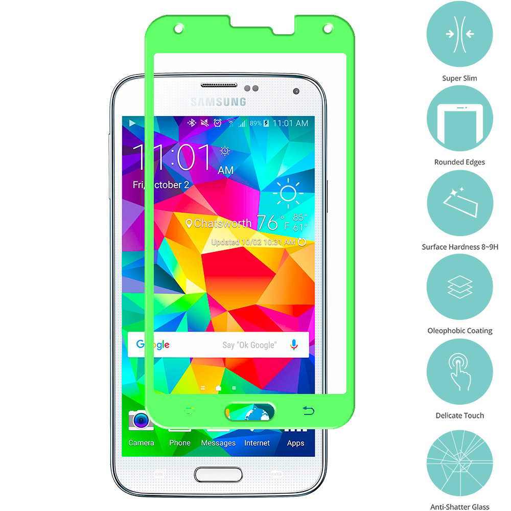 Samsung Galaxy S5 Neon Green Tempered Glass Film Screen Protector Colored