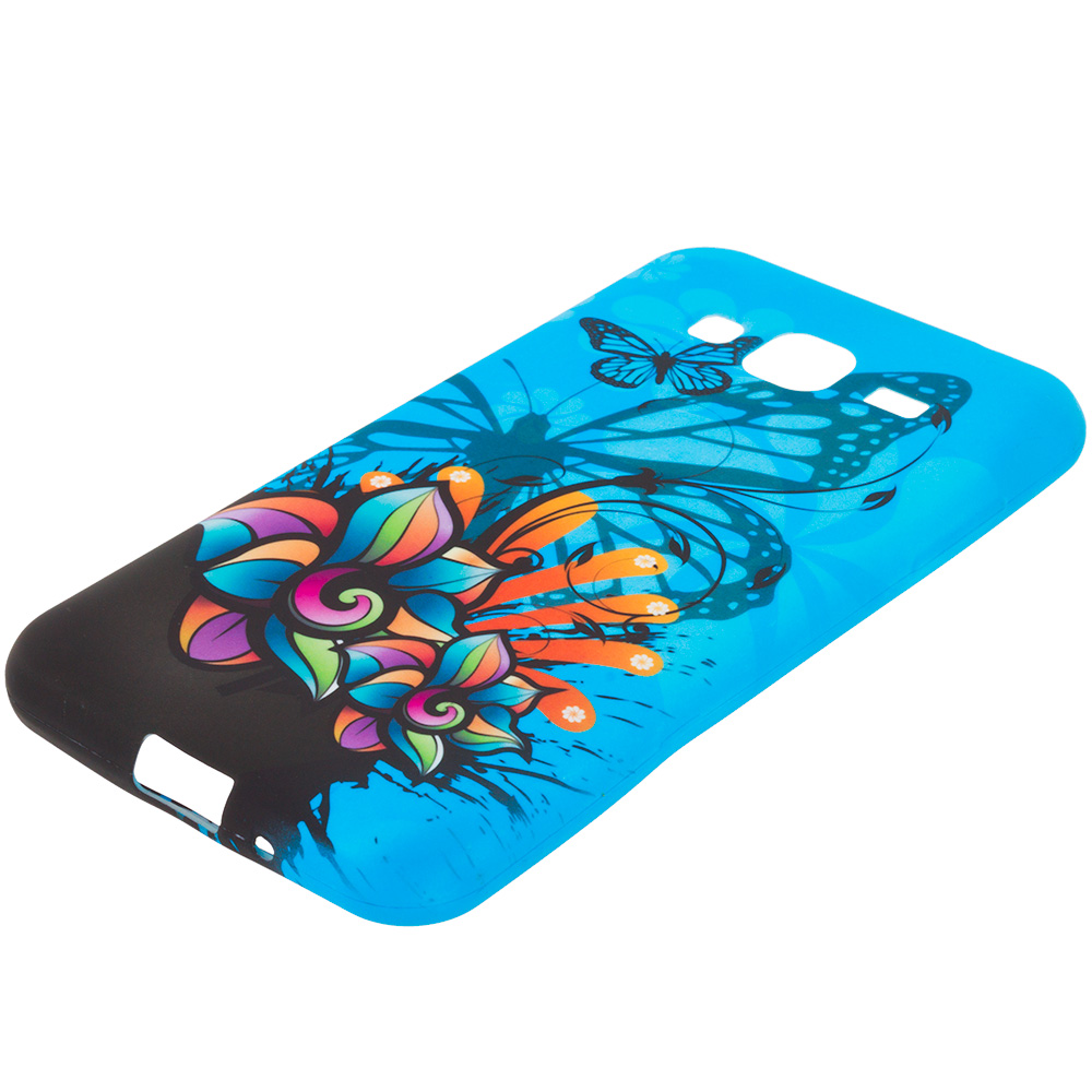 Samsung Galaxy J3 2016 Amp Prime Express Prime Blue Butterfly Flower TPU Design Soft Rubber Case Cover