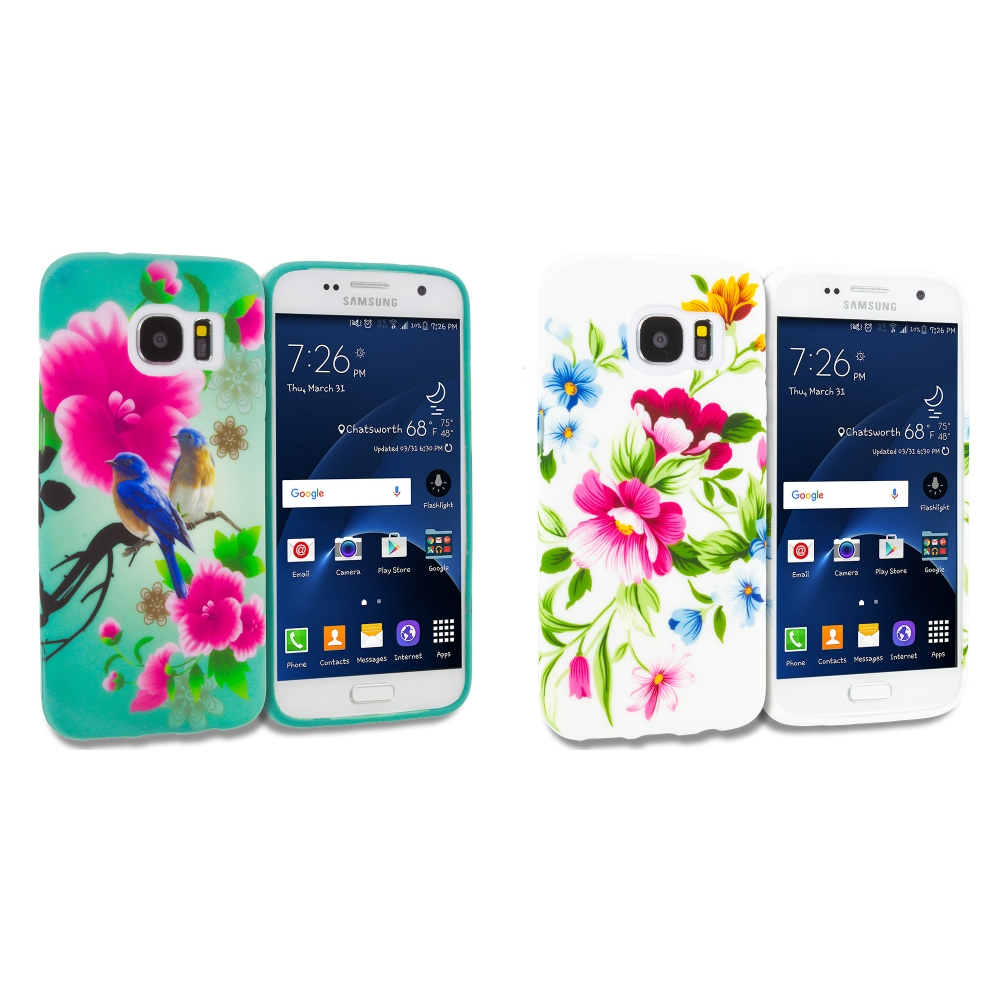Samsung Galaxy S7 Combo Pack : Blue Bird Pink Flower TPU Design Soft Rubber Case Cover