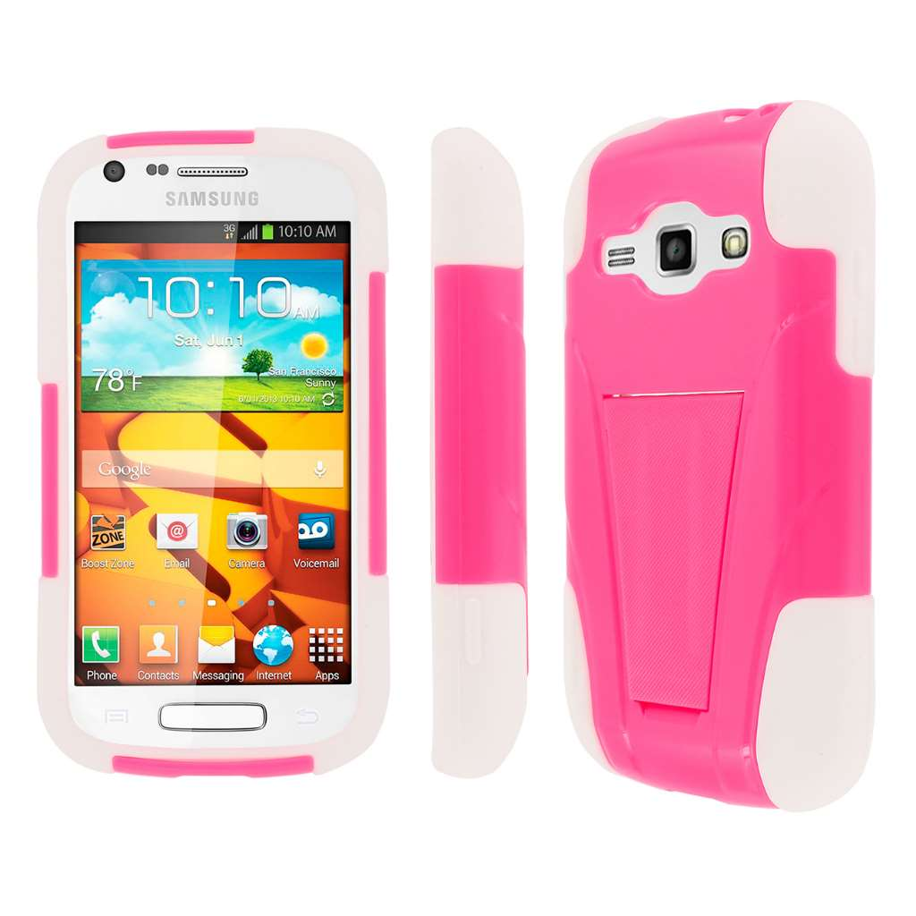 Samsung Galaxy Prevail 2- HOT PINK / WHITE MPERO IMPACT X - Kickstand Case