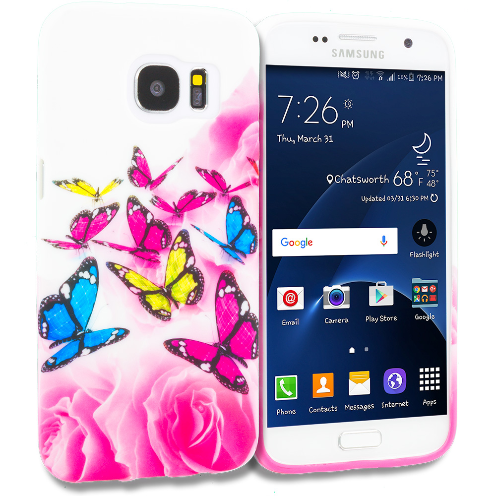 Samsung Galaxy S7 Edge Pink Colorful Butterfly TPU Design Soft Rubber Case Cover