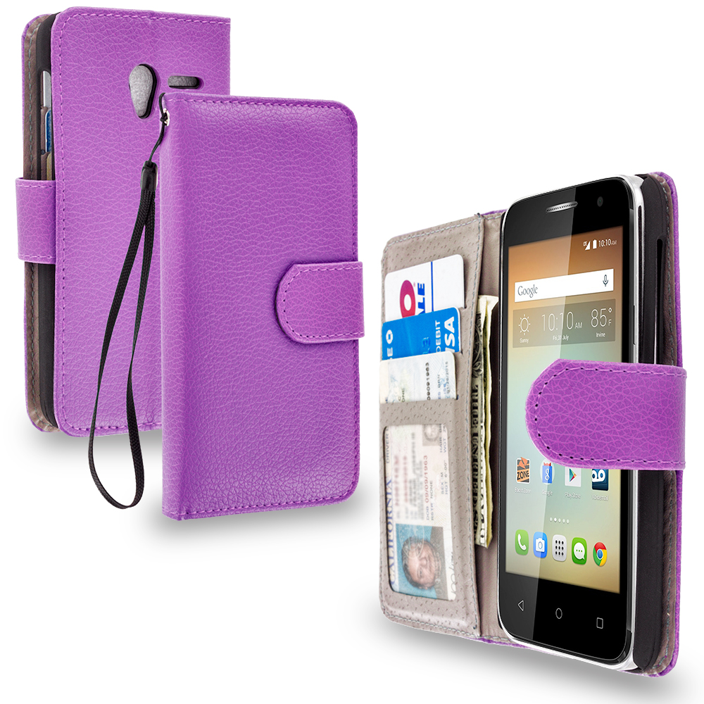 Alcatel One Touch Elevate Purple Leather Wallet Pouch Case Cover with Slots