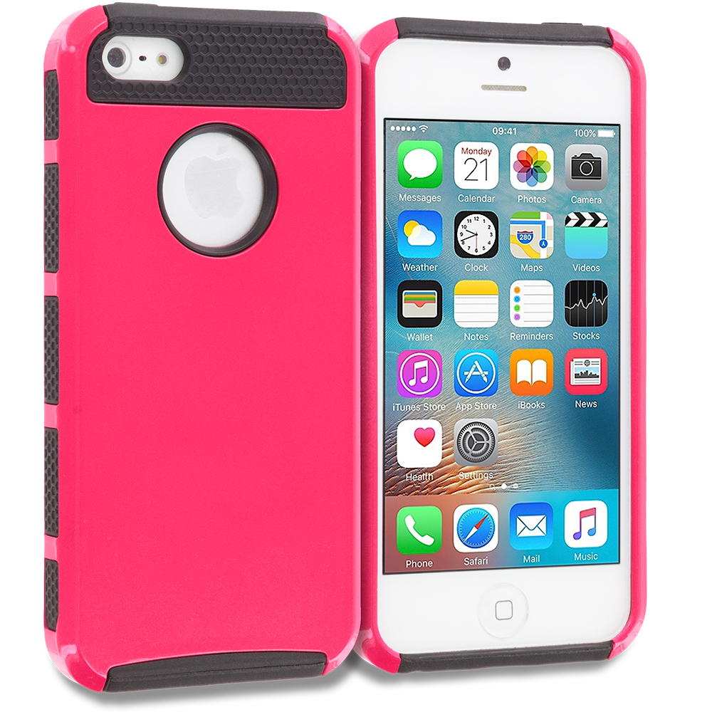 Apple iPhone 5/5S/SE Hot Pink / Black Hybrid Hard TPU Honeycomb Rugged Case Cover