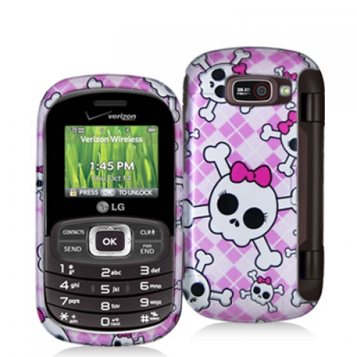 LG Octane VN530 Cute Skulls Design Crystal Hard Case Cover