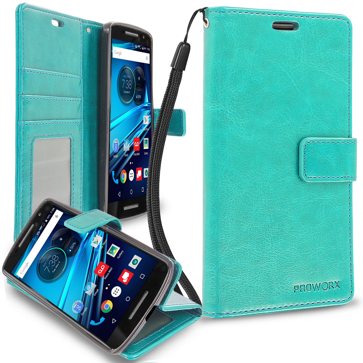 Motorola Droid Maxx 2 XT1565 Mint Green ProWorx Wallet Case Luxury PU Leather Case Cover With Card Slots & Stand
