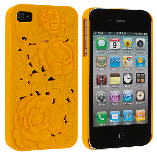 Apple iPhone 4 / 4S Orange 3D Rose Hard Rubberized Back Cover Case