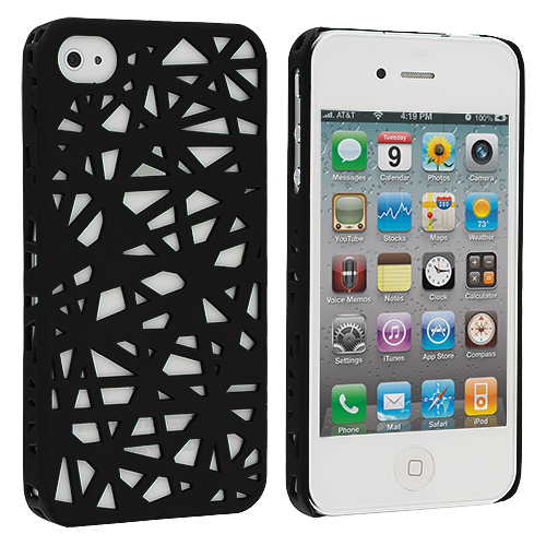 Apple iPhone 4 / 4S 2 in 1 Combo Bundle Pack - Black White Birds Nest Hard Rubberized Back Cover Case : Color Black Birds Nest
