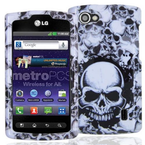 LG Optimus M+ MS695 Black / White Skulls Design Crystal Hard Case Cover