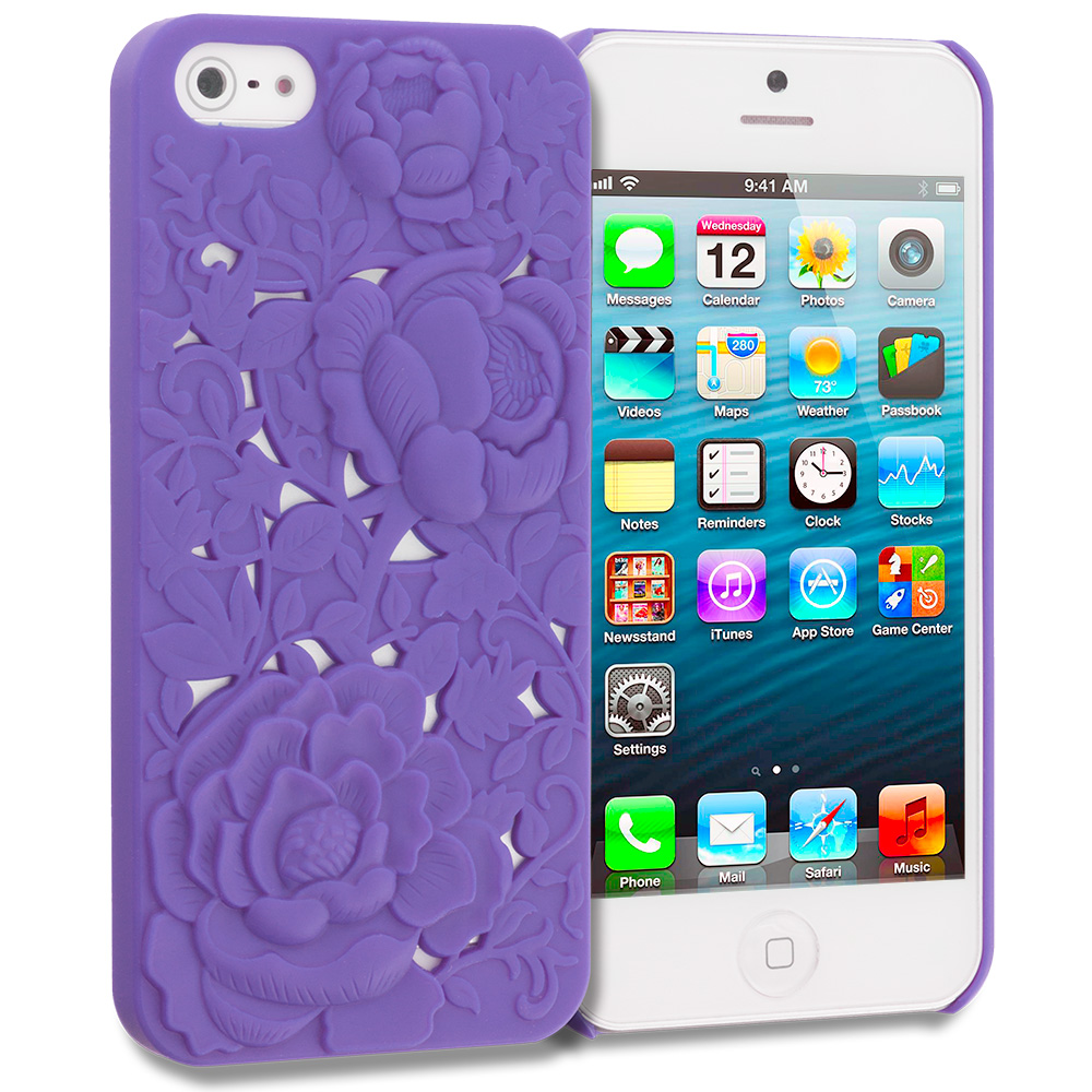 Apple iPhone 5/5S/SE Purple 3D Rose Hard Rubberized Back Cover Case