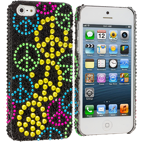 Apple iPhone 5/5S/SE Combo Pack : Hot Pink Hawaii Flower Bling Rhinestone Case Cover : Color Colorful Peace Sign