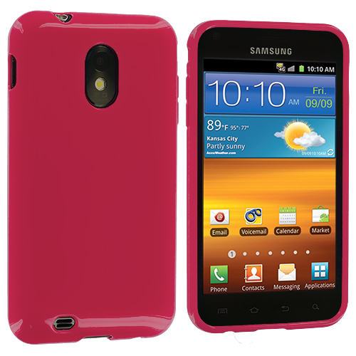 Samsung Epic Touch 4G D710 Sprint Galaxy S2 Hot Pink Solid TPU Rubber Skin Case Cover