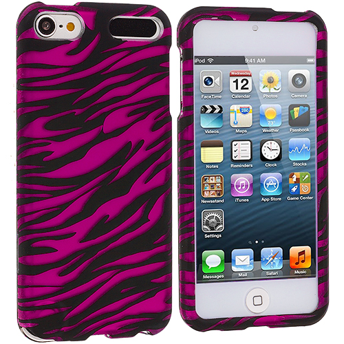 Apple iPod Touch 5th 6th Generation 2 in 1 Combo Bundle Pack - Pink / Hot Pink Zebra Hard Rubberized Design Case Cover : Color Black / Hot Pink Zebra