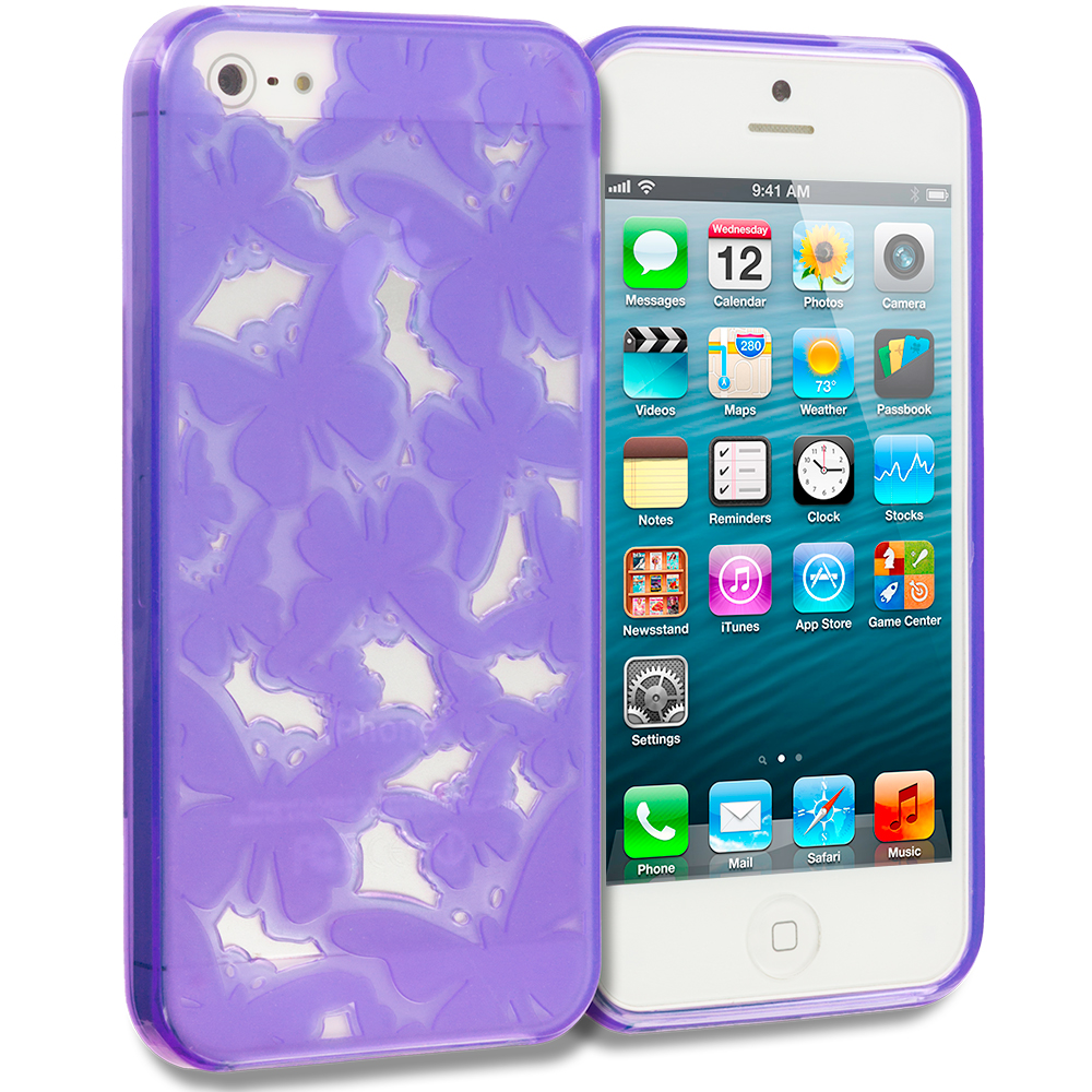 Apple iPhone 5/5S/SE Purple Butterfly Cutout TPU Rubber Skin Case Cover