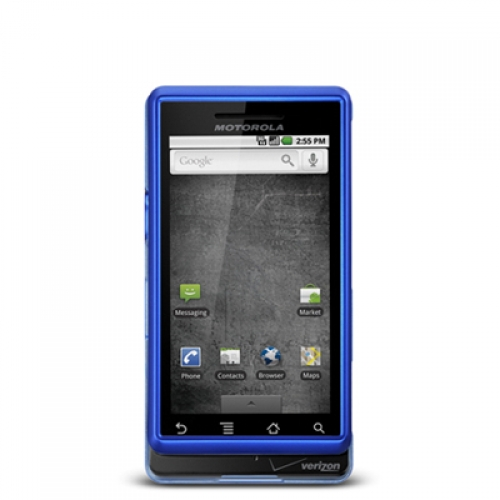 Motorola Droid A855 Blue Hard Rubberized Case Cover