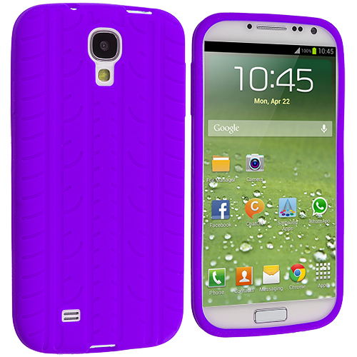 Samsung Galaxy S4 2 in 1 Combo Bundle Pack - White Purple Tire Tread Silicone Soft Skin Case Cover : Color Purple Tire Tread