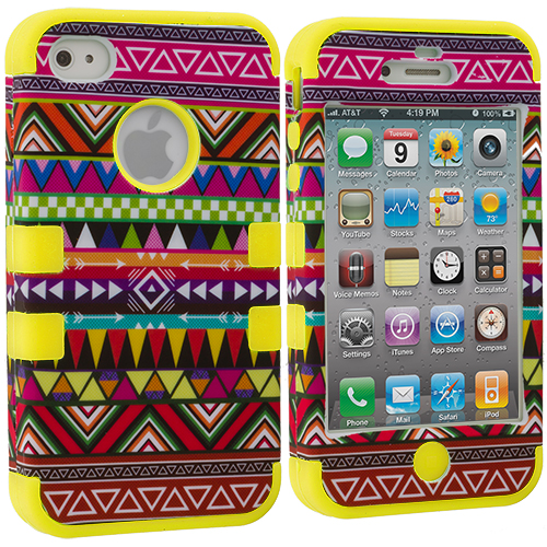 Apple iPhone 4 / 4S Yellow Tribal Hybrid Tuff Hard/Soft 3-Piece Case Cover