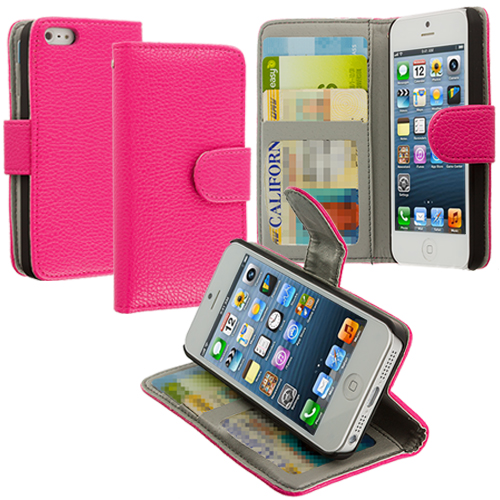 Apple iPhone 5/5S/SE Hot Pink Texture Leather Wallet Pouch Case Cover with Slots