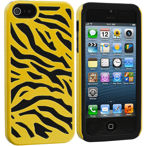Apple iPhone 5/5S/SE Combo Pack : Black / Yellow Hybrid Zebra Hard/Soft Case Cover : Color Black / Yellow