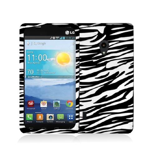 LG Lucid 2 VS870 Black / White Zebra Hard Rubberized Design Case Cover
