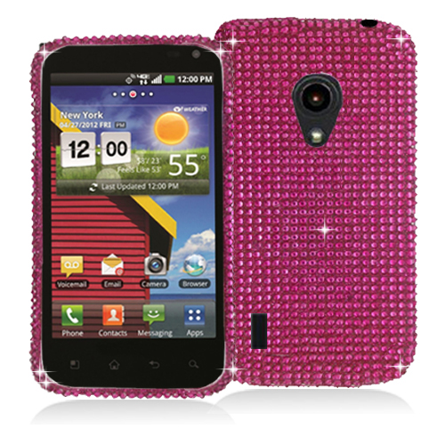 LG Lucid 2 VS870 Hot Pink Bling Rhinestone Case Cover
