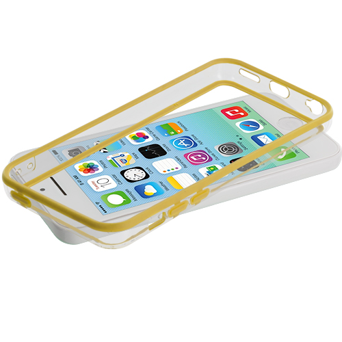 Apple iPhone 5C 2 in 1 Combo Bundle Pack - Yellow / Red TPU Bumper with Metal Buttons : Color Yellow / Clear
