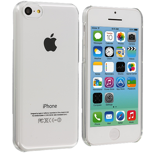 Apple iPhone 5C 2 in 1 Combo Bundle Pack - Clear Orange Transparent Crystal Hard Back Cover Case : Color Clear Transparent
