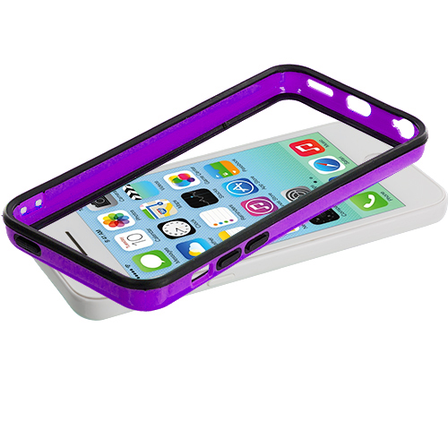 Apple iPhone 5C Black / Purple TPU Bumper with Metal Buttons