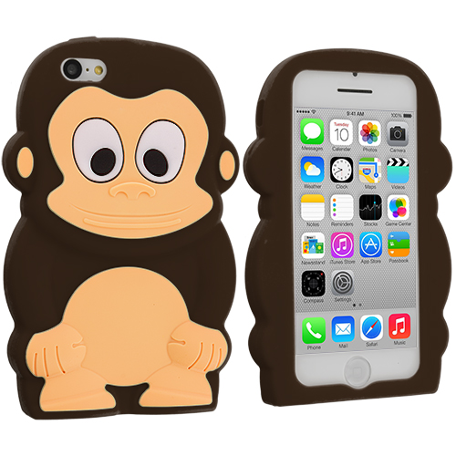 Apple iPhone 5C Brown Monkey Silicone Design Soft Skin Case Cover