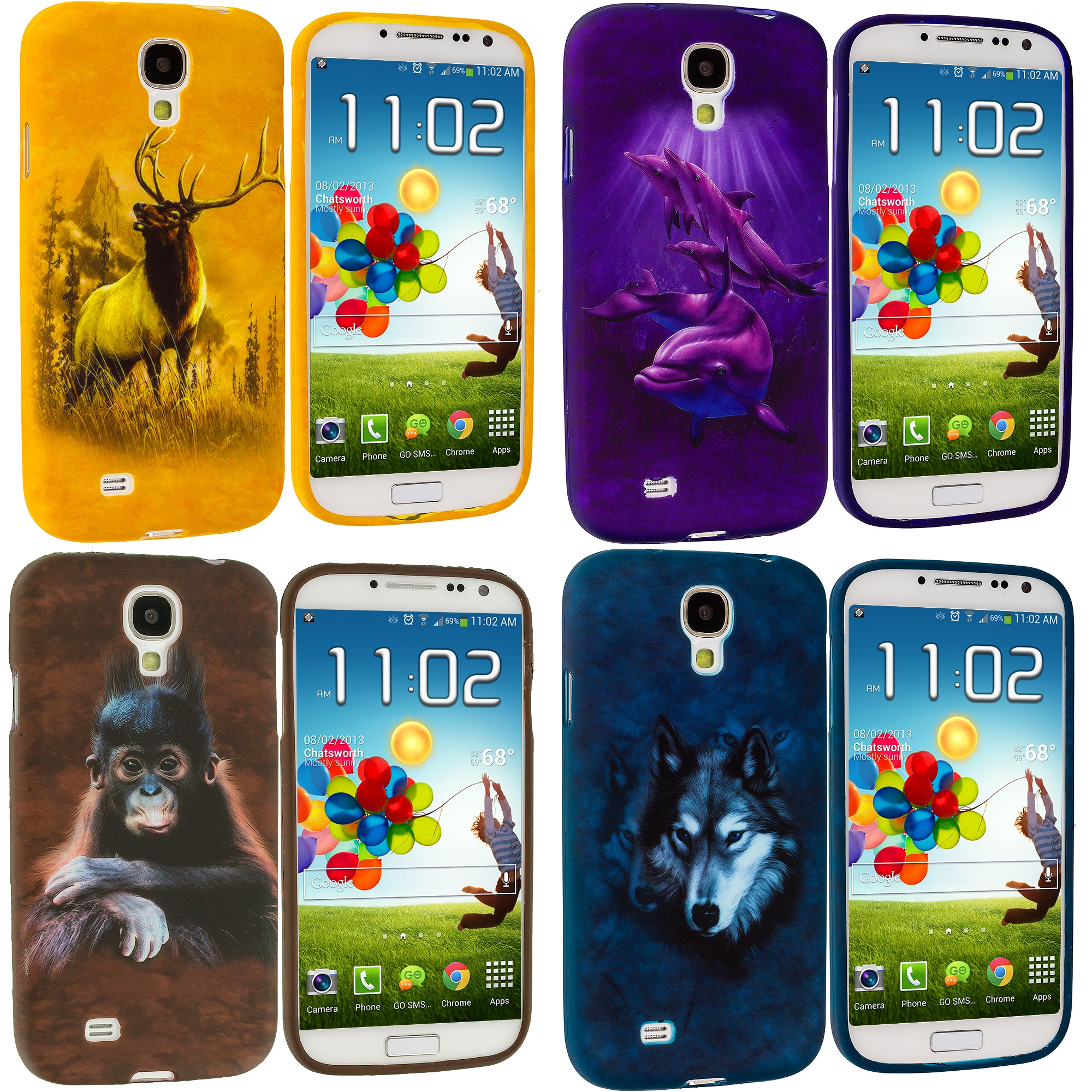 Samsung Galaxy S4 4 in 1 Combo Bundle Pack - Animals TPU Design Soft Case Cover