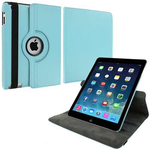 Apple iPad Air Baby Blue 360 Rotating Leather Pouch Case Cover Stand