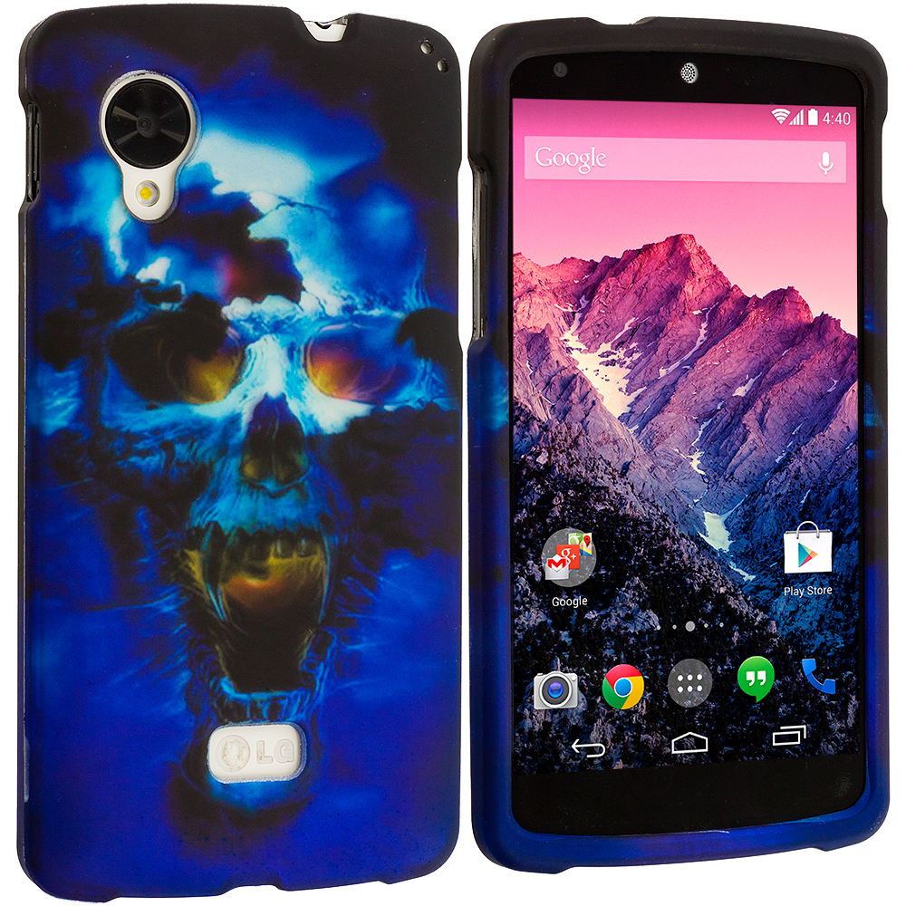 LG Google Nexus 5 Blue Skulls Hard Rubberized Design Case Cover
