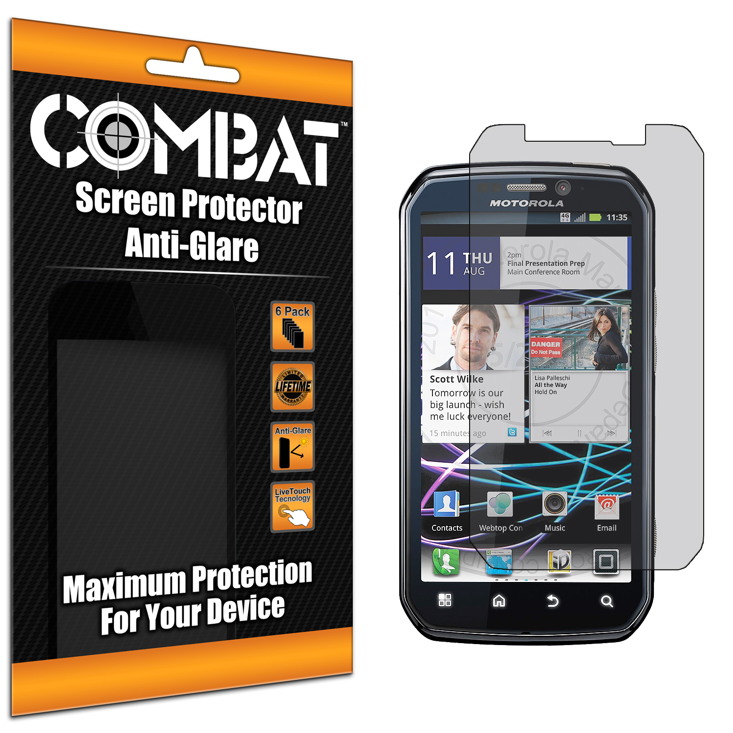 Motorola Photon 4G MB855 Combat 6 Pack Anti-Glare Matte Screen Protector
