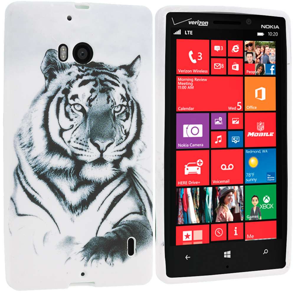 Nokia Lumia 929 Icon White Tiger TPU Design Soft Case Cover