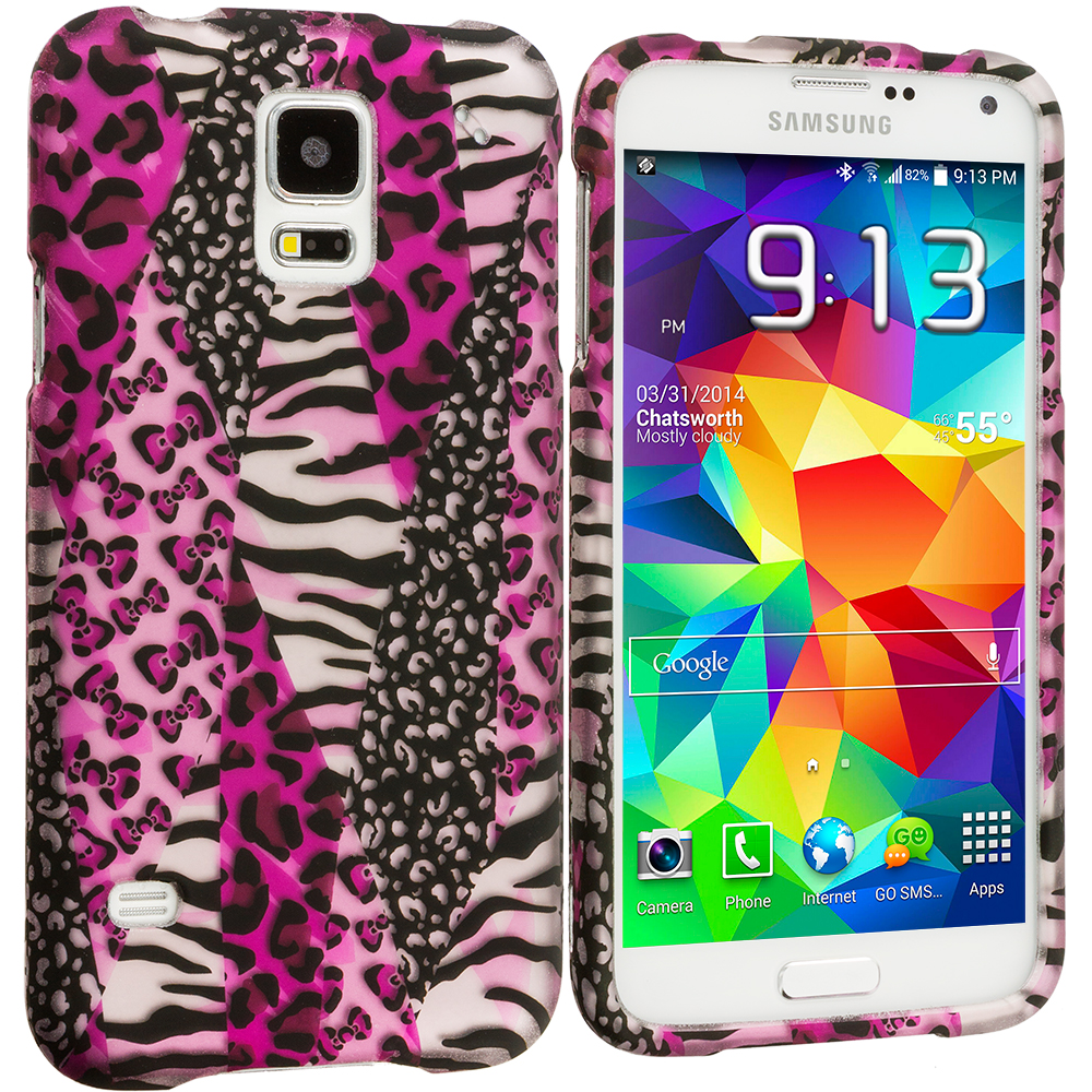 Samsung Galaxy S5 2 in 1 Combo Bundle Pack - Bowknot Zebra Leopard Hard Rubberized Design Case Cover : Color Bowknot Zebra 2D