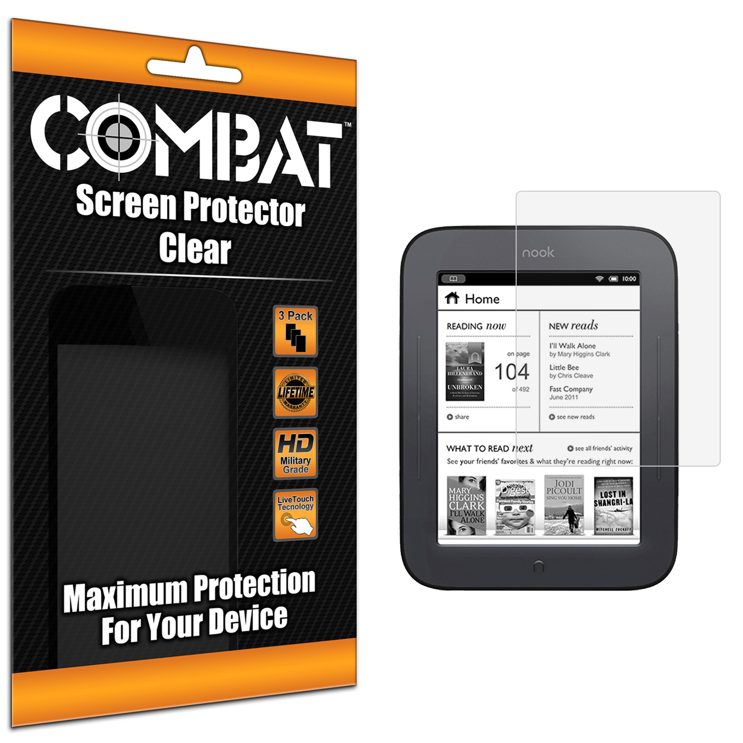 Barnes & Noble Nook Simple Touch Combat 3 Pack HD Clear Screen Protector