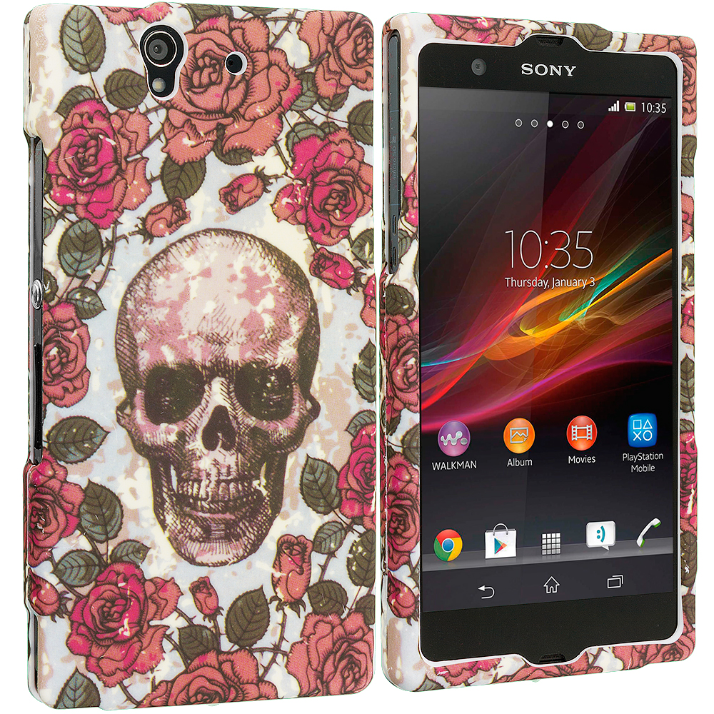 Sony Xperia Z Gorgeous Skull Hard Rubberized Design Case Cover