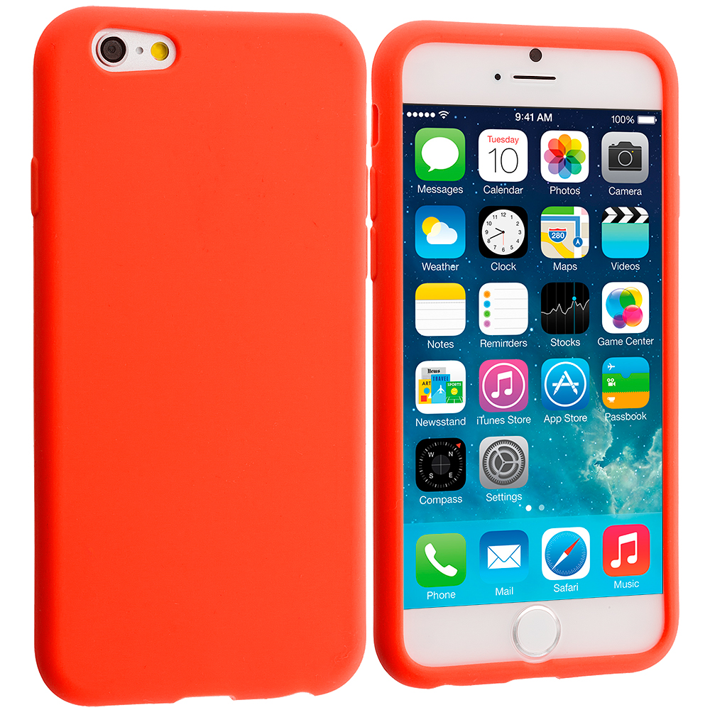 Apple iPhone 6 6S (4.7) 9 in 1 Combo Bundle Pack - Silicone Soft Skin Case Cover : Color Orange