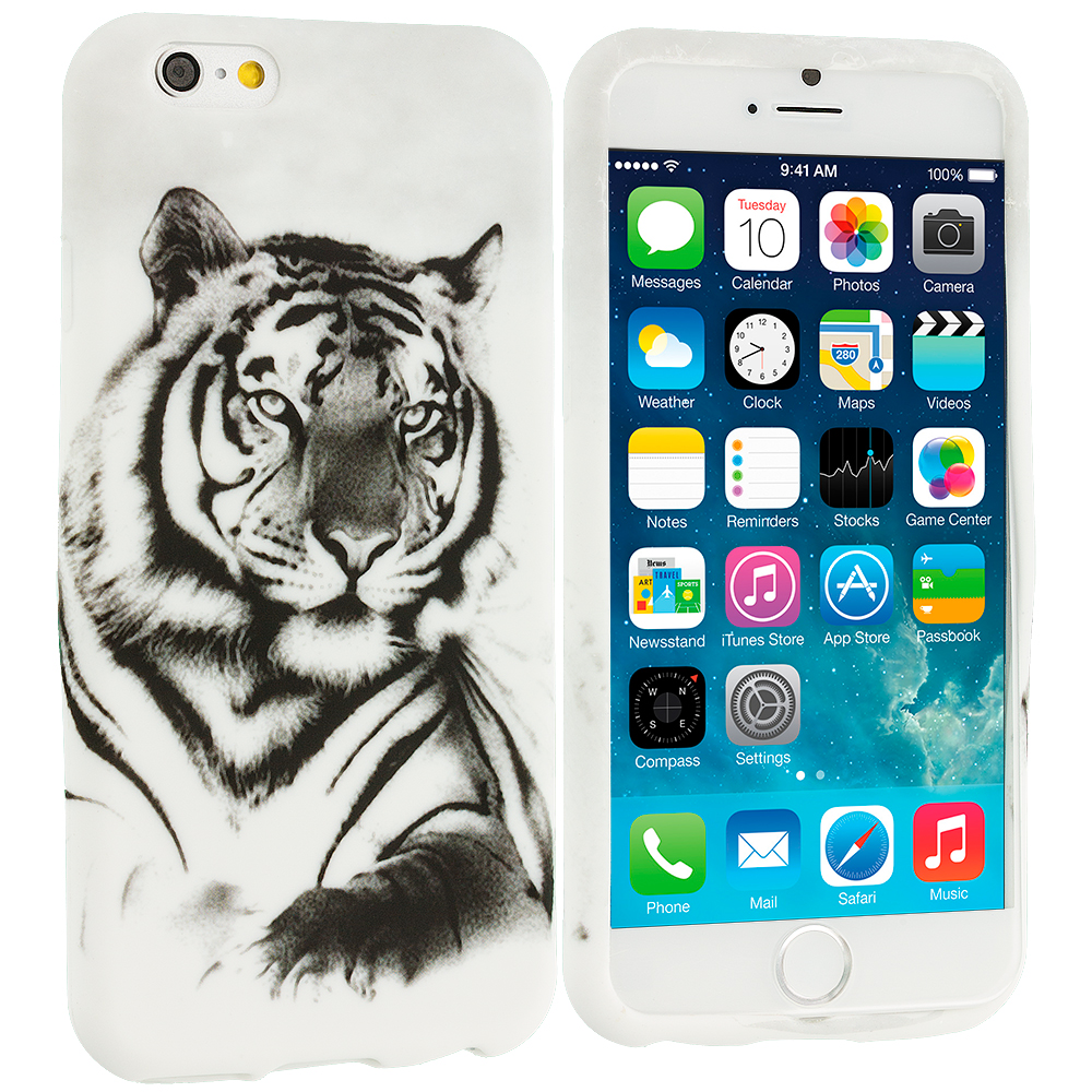 Apple iPhone 6 6S (4.7) 11 in 1 Combo Bundle Pack - TPU Design Soft Rubber Case Cover : Color Tiger