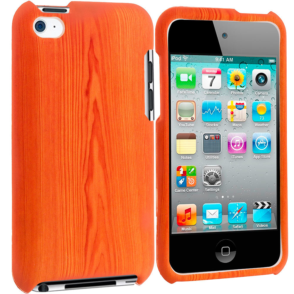 Apple iPod Touch 4th Generation Wood Grain Hard Rubberized Design Case Cover