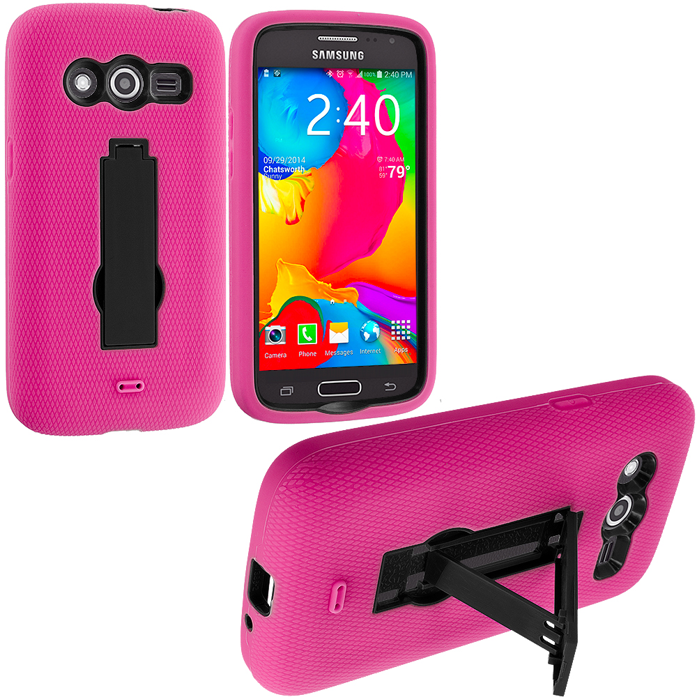 Samsung Galaxy Avant G386 Hot Pink / Black Hybrid Heavy Duty Impact Case Cover with Stand