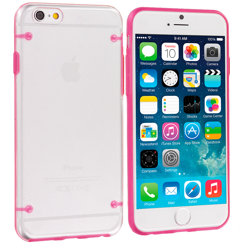 Apple iPhone 6 Plus 6S Plus (5.5) 8 in 1 Combo Bundle Pack - Crystal Robot Hard Case Cover : Color Hot Pink