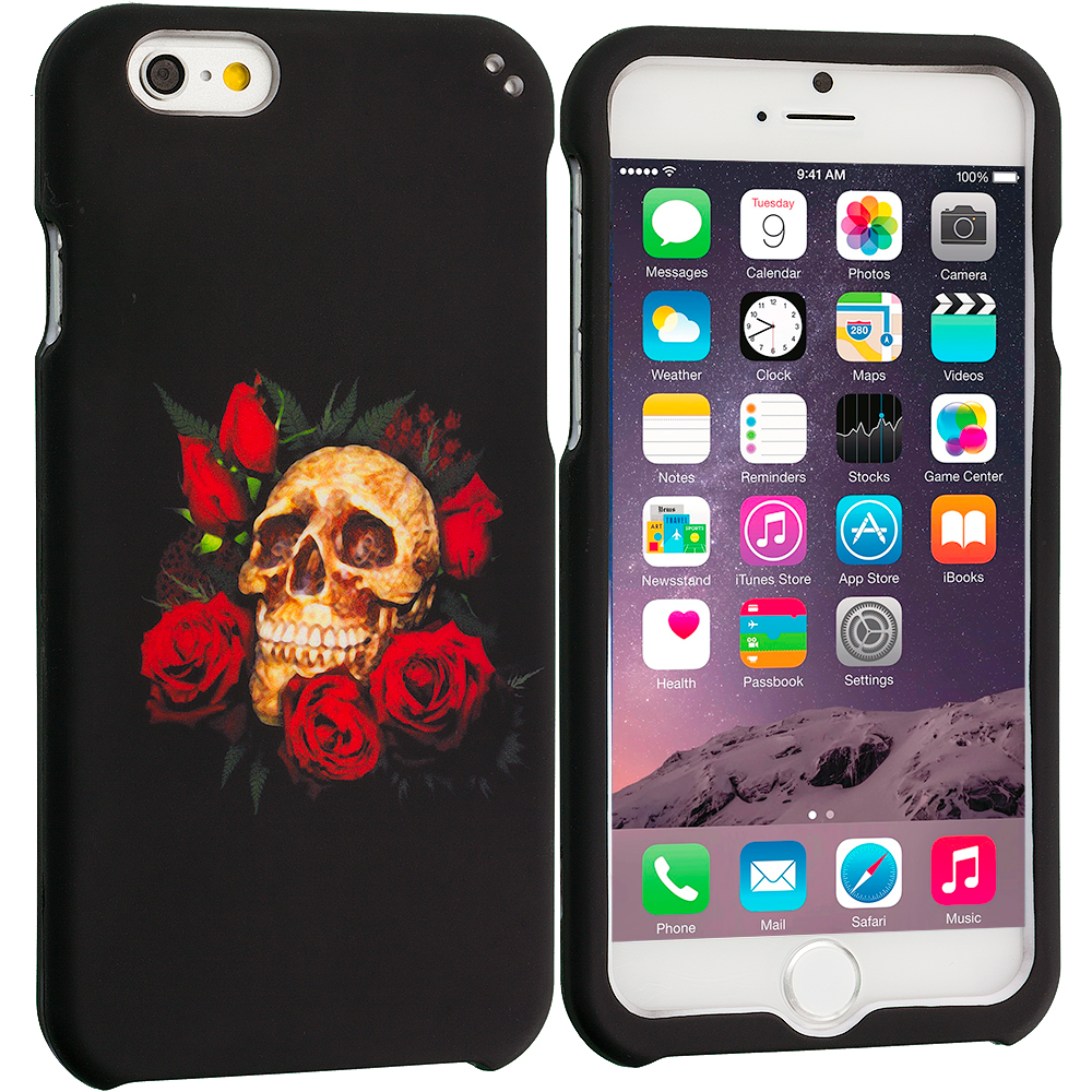 Apple iPhone 6 Plus 6S Plus (5.5) Red Rose Skull Hard Rubberized Design Case Cover