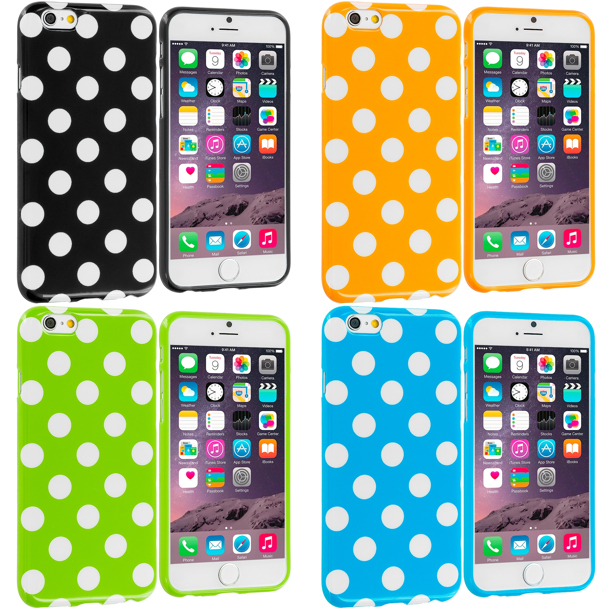 Apple iPhone 6 Plus 6S Plus (5.5) 4 in 1 Combo Bundle Pack - TPU Polka Dot Skin Case Cover