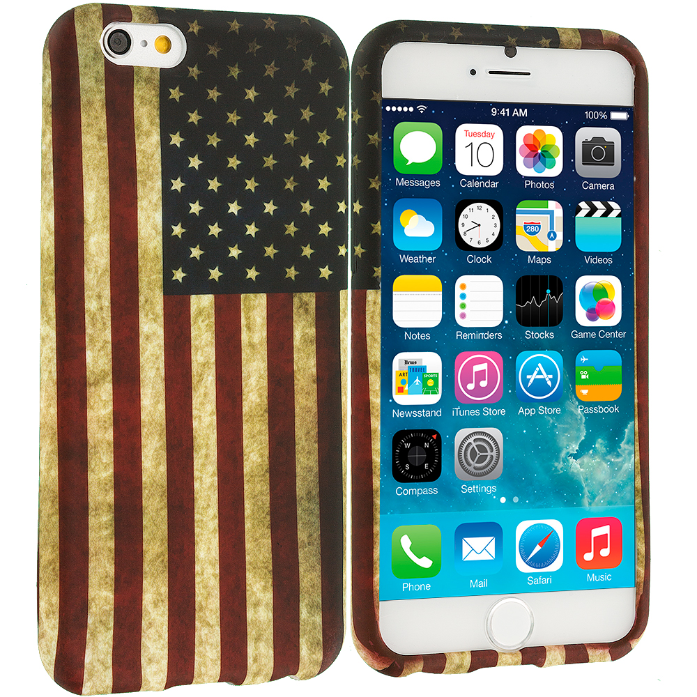 Apple iPhone 6 Plus 6S Plus (5.5) USA Flag TPU Design Soft Rubber Case Cover