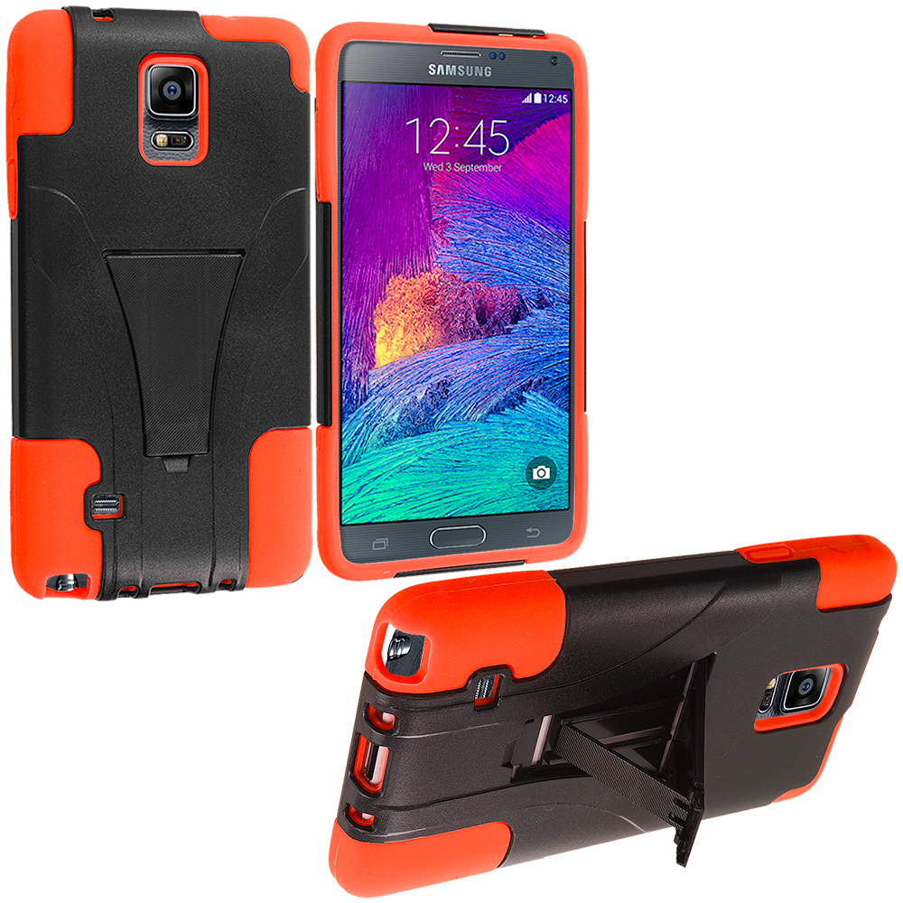 Samsung Galaxy Note 4 Black / Orange Hybrid Hard Soft Shockproof Case Cover with Kickstand