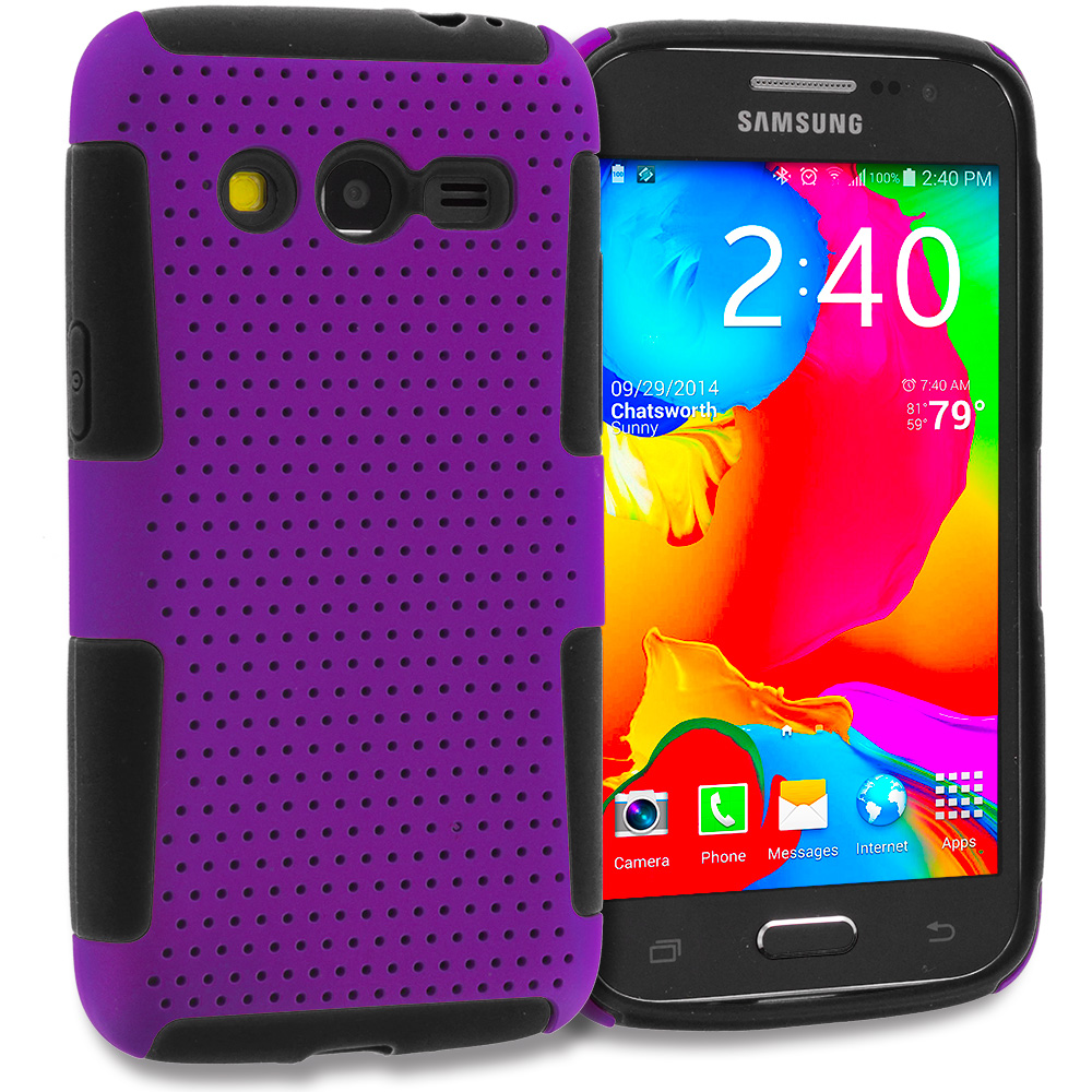 Samsung Galaxy Avant G386 Black / Purple Hybrid Mesh Hard/Soft Case Cover