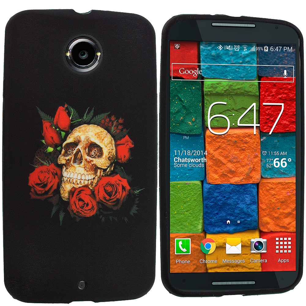 Motorola Moto X 2nd Gen Red Rose Skull TPU Design Soft Rubber Case Cover