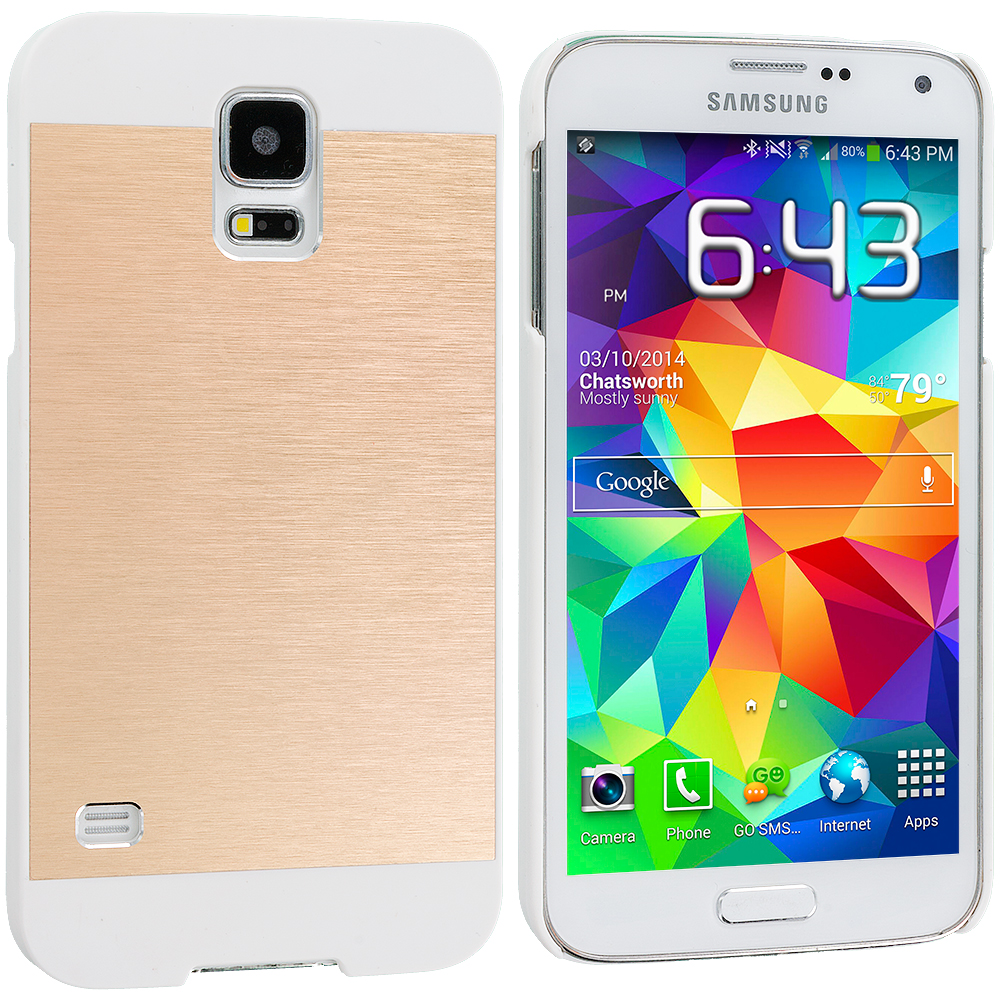 Samsung Galaxy S5 Gold / White Hybrid Luxury Aluminum Hard Case Cover